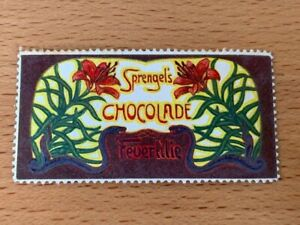 POSTER-STAMP-GERMANY-SPRENGEL-039-S-CHOCOLADE-from-1913-FLOWERS