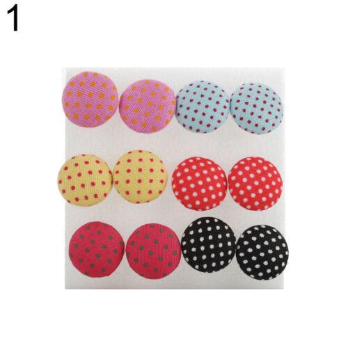 LC/_ Hot 6 Paire Génial Coloré Tissu Bouton Plastique Épingle Boucles D/'Oreille