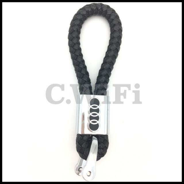 Llavero AUDI de cuero trenzado negro gran calidad de Llaveros