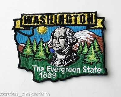 WASHINGTON USA THE EVERGREEN STATE EMBROIDERED MAP PATCH 2 X 3 INCHES