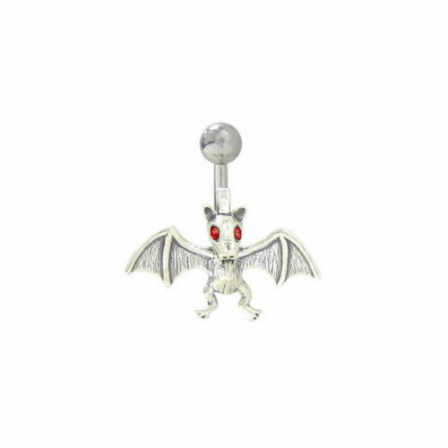 """Bat Belly Button Ring Surgical Steel 14 gauge 3//8/"""" length 10mm"""