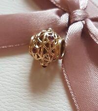 AUTHENTIC Pandora 14ct GOLD OPENWORK RHODOLITE charm 750508 RHL ALE 585