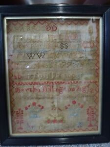 Tapestry-Alphabet-Sampler-174-years-old-dated-1843-Antique-Vintage-Embroidery