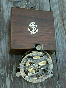 Nautical-Antique-Brass-4-034-West-London-Sundial-Compass-With-Anchor-Wooden-Box