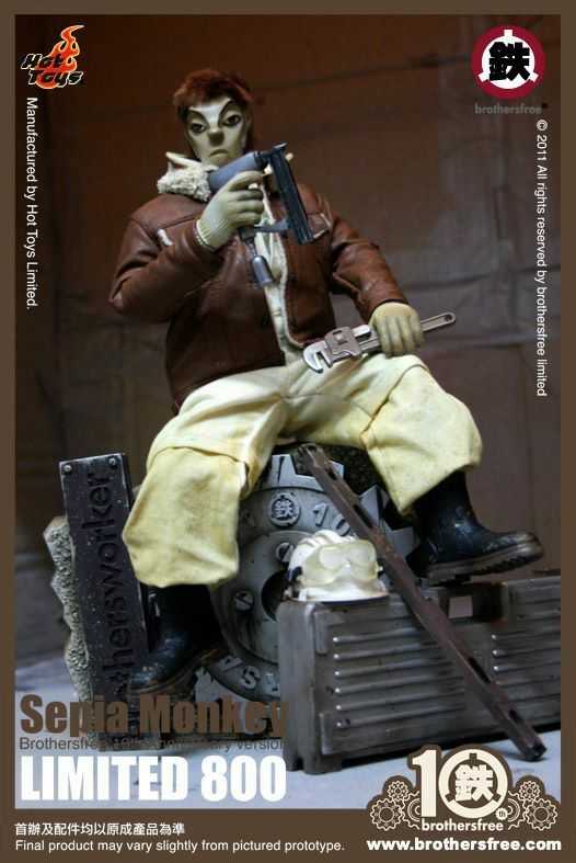 Brothersfree x Hot Toys Sepia Monkey Brothersworker 10th Anniversary 12