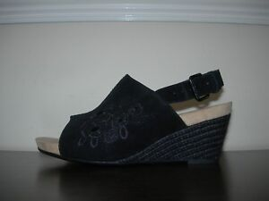 Eu Suede Floral Uk Embroidered Black Clarks 38 Women's Slim 5 Sandals Wedges WUqT0H