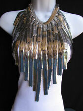 """A WOMEN OVER SIZE WIDE MULTI STRAND SILVER LINKS CHAINS BIG METAL NECKLACE 20"""""""