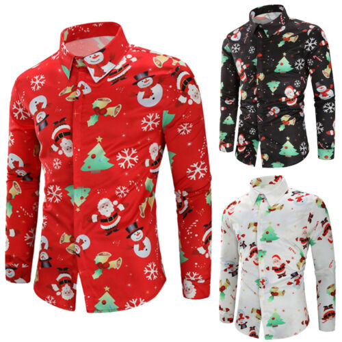 Christmas Men/'s Button Down Printed Shirts Slim Long Sleeve Tops Dress T Shirt