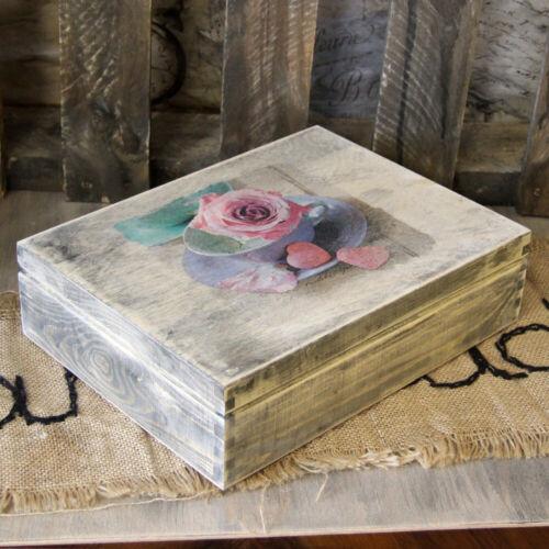 Vintage Schatulle Teebox 12 Fächer Landhaus Shabby Deko Holz Truhe Handarbeit