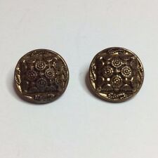 2 Vintage Brass Tone Metal Sewing Buttons - Square Design With Circles