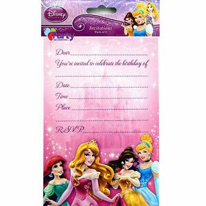 Personalised Disney Princesses Girls Birthday Party Invites inc envelopes D9
