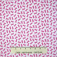 Breast Cancer Awareness Fabric - Pink Ribbon Toss White Elizabeth's Studio Yard