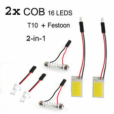 2 X Car 16 LED COB Cabin Dome Roof  White Light  FESTOON & T10 ADAPTER
