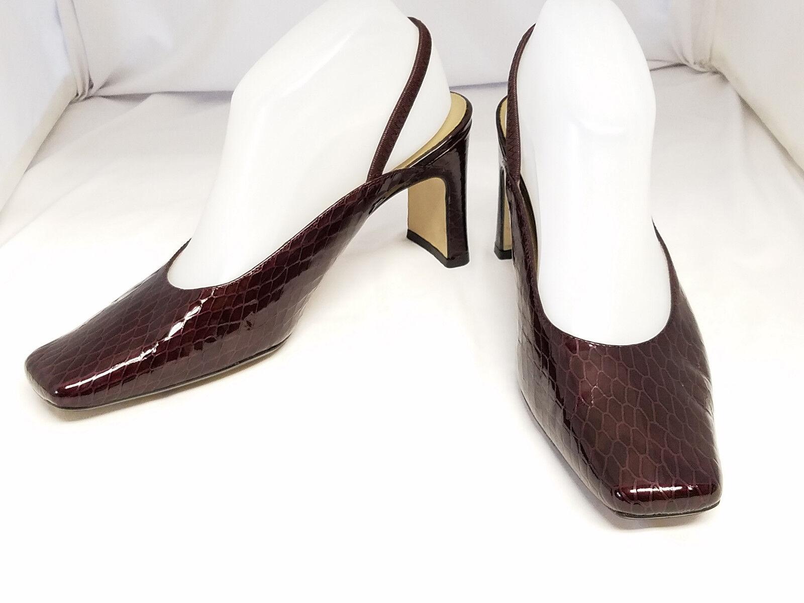 "Bellini 8.5M Leather Brown Square Toe Slingback Pump Size 8.5M Bellini 3.5"" Heel Reptile Patt 661638"