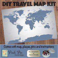 DIY Blue Ice World Push Pin Travel Map Kit