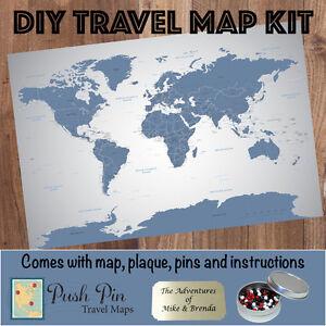 Details about DIY Blue Ice World Push Pin Travel Map Kit