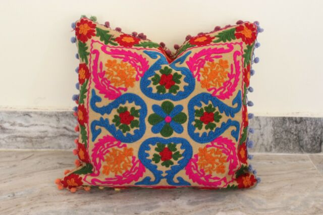 Vintage Suzani Cushion Cover Embroidered 16x16'' Indian Pillow Case Pom Pom Cu15
