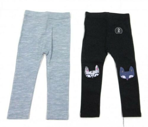 Ex STORE Bébé Filles 2 Pack Grey Fox Animal Leggings Lot Âge 9 12 18 24 mois
