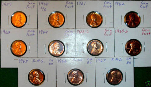 1959 TO 1969-S 11 COIN PROOF/&SMS LINCOLN MEMORIAL CENTS