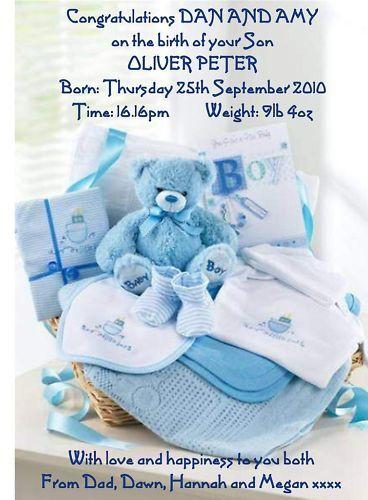 baby boy birth congratulations a5 card personalised son parents