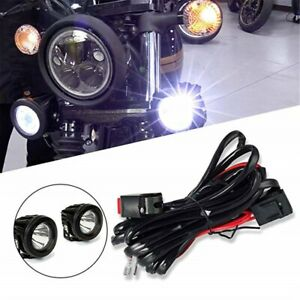 Universal Motorcycle Led Lights Auxiliary Work Lamps Wiring Harness Kit Ebay
