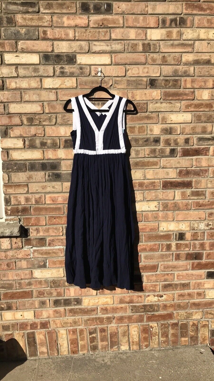 Soft Surroundings navy and white maxi dress size S