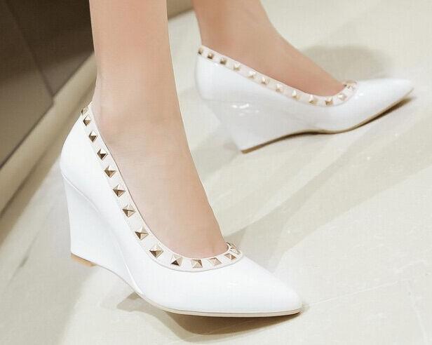 Décollte shoes court shoes woman wedge 8 cm paint white elegant comfortable 9214