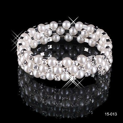 2016 Fashion New 3 Row White Pearls Rhinestone Bridal Bracelets Wedding Jewelery