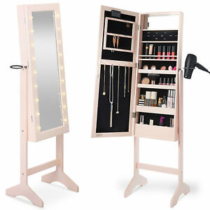 ... Beautify Pink Full Length LED Makeup Jewellery Organiser