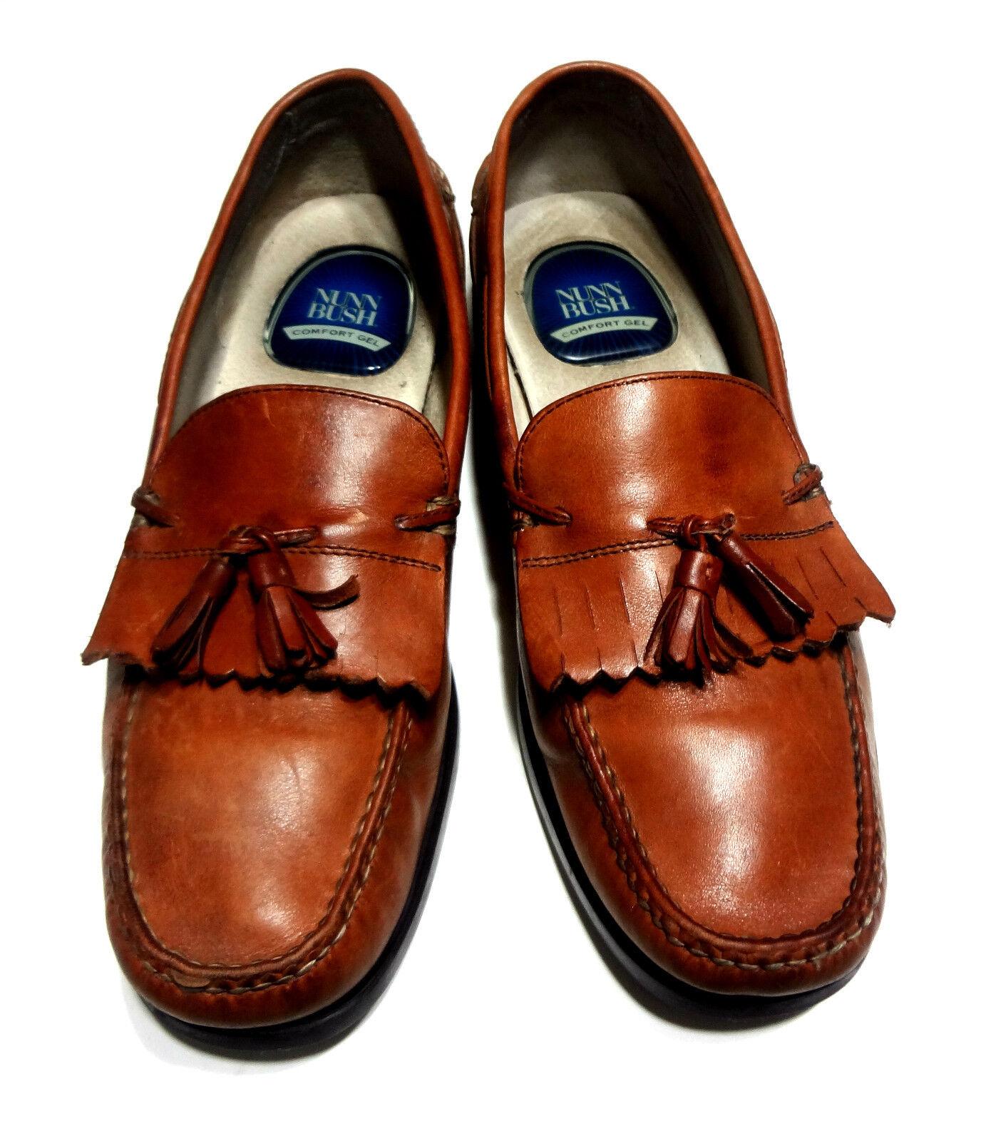 Nunn Bush Comfort Gel Loafers Tassel tan Leather Mens shoes 10.5 M