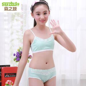 f3423e5e60 Puberty Girl Cotton Soft Bra+Pant Student Underwear Set Fasteners ...