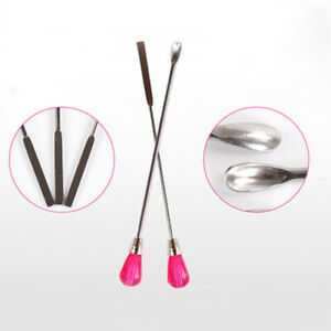 2x-Nail-Art-Stainless-Steel-spatula-Spoon-Crystal-Powder-Manicure-Pedicure-Tool