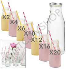 2,4,6,10,12,16,20 x 250ml Mini Glass Milk Bottles With Silver Lid Party Pack Set