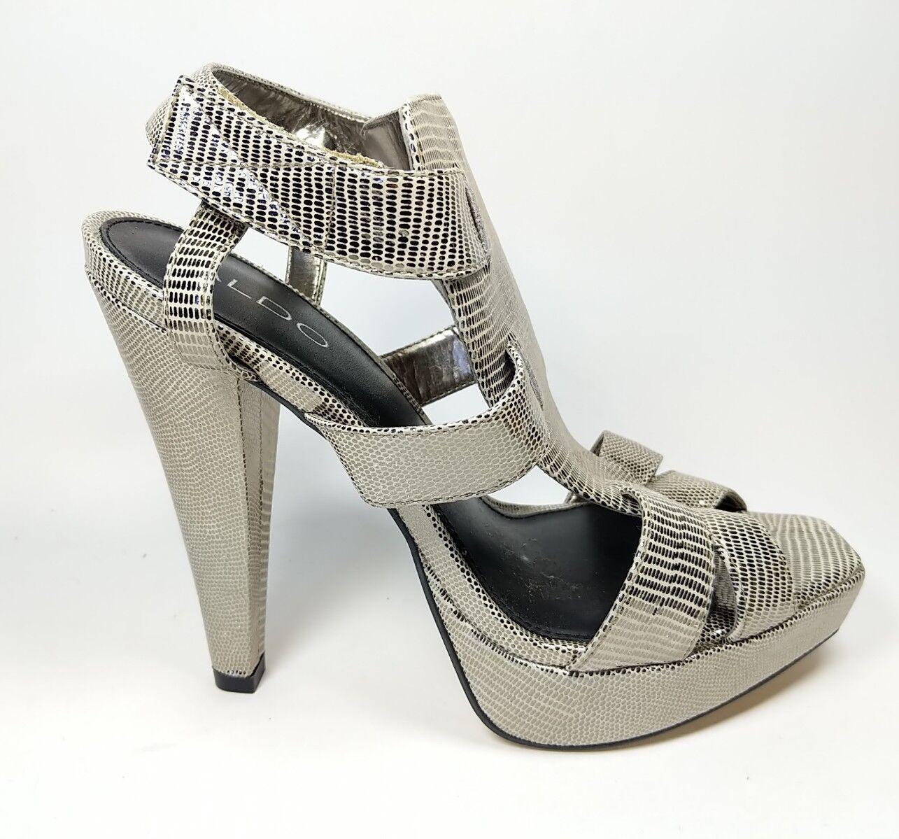 Aldo silver leather open toe high heel shoes uk 6 eu 39 super condition