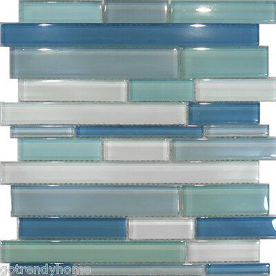 10SF-Blue Random Linear Glass Mosaic Tile Backsplash Kitchen Sink Wall faucet
