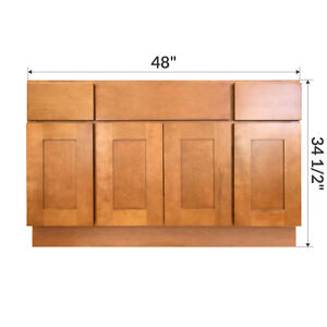 Lesscare newport 48 bathroom maple vanity sink base - Unfinished shaker bathroom vanity ...
