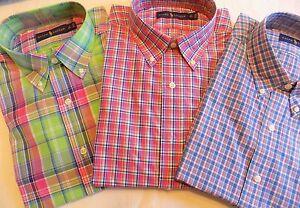 NWT Ralph Lauren PLAID Button Front Poplin Long Sleeved Shirts Sz LT , 3XLB