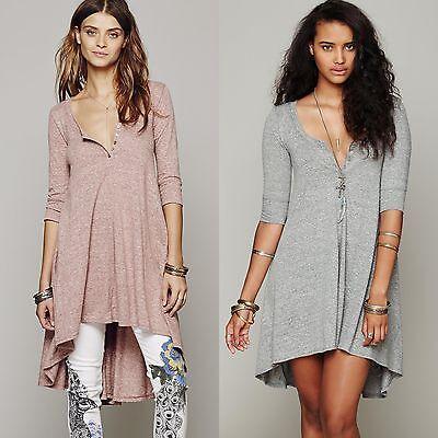 Womens Casual High-Low T-Shirt Loose Top Summer Club Tee Cotton Midi Beach Dress