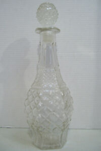 Vintage-Wine-Decanter-Clear-Glass-Decorated-Bottle-Liquor-Rum-Whiskey-15-034-Tall