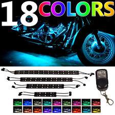 8pc 3 Million Color Flexible Strip Motorcycle 60 LED Neon Accent Lighting Kit