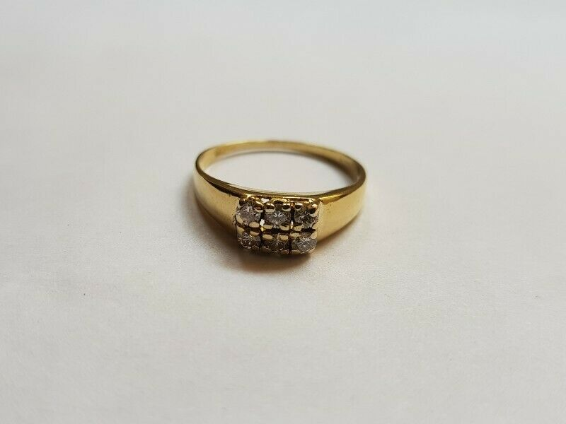 A237 18k Gold Square Top Diamond Ring