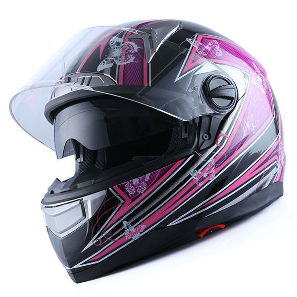 1STorm Motorcycle Bike Dual Visor Full Face Helmet Women Lady Butterfly Purple
