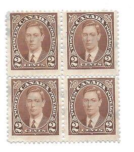 Canada Stamps George VI Scott 232 Block of 4 Brown  Used 1937