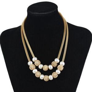 Frauen-Double-Kette-Halsreif-Chunky-Perlen-Statement-Bib-Hochzeit-Halskette-Schmuck