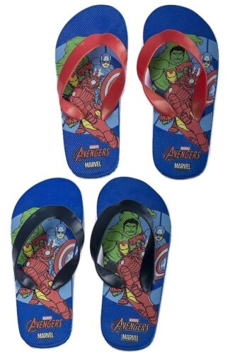 Sizes UK 8.5-13 Avengers Boys Flip Flops Blue /& Red Strap