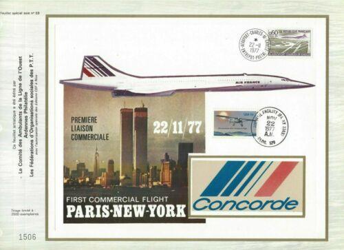 FEUILLET CEF 1er JOUR FRANCE PREMIÈRE LIAISON COMMERCIALE PARIS NEW-YORK 1977