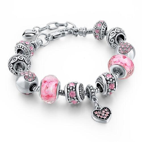 925 plata PLT charm pulsera con 11 Murano glass beads charm Bracelet