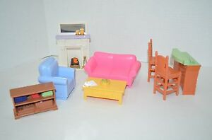 Fisher price loving family dollhouse living room furniture fireplace sofa lot ebay for Fisher price loving family living room