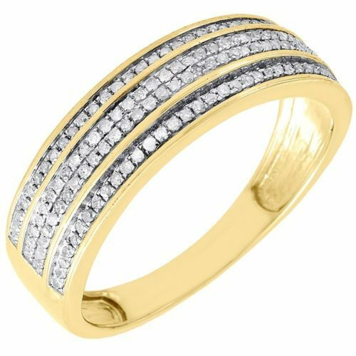 Diamond Wedding Band Men/'s 10K Yellow Gold 3 Row Round Cut Pave Ring 1//3 Tcw.
