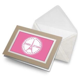 Greetings-Card-Biege-Pink-Paris-Eiffel-Tower-France-Travel-9301